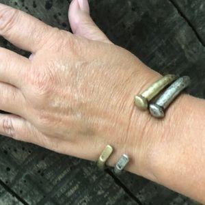 """Hammered"" metal gold & silver nail cuffs"